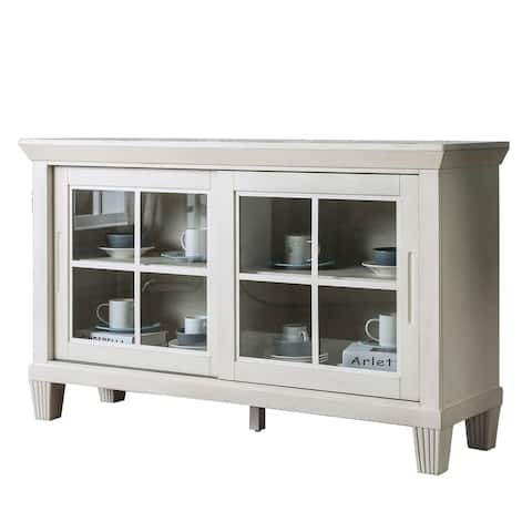 Transitional Wooden Server with 4 Shelves and Sliding Cabinet, White