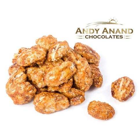 Andy Anand Honey Roasted Toffee Pecans, Fresh 1 lbs Gift Box & Greeting Card