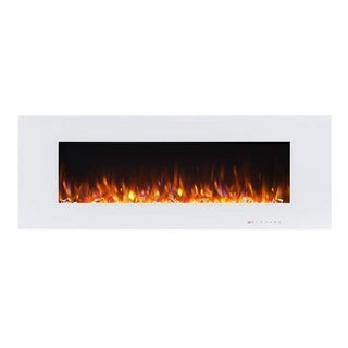 50 Inch Wall-mounted Electric Fireplace with Remote in White
