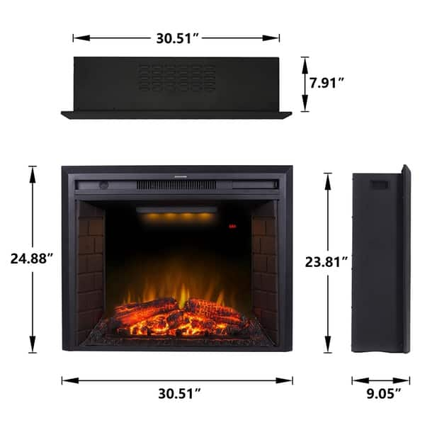 Shop 30 Inch Black Recessed Electric Fireplace Insert With Remote