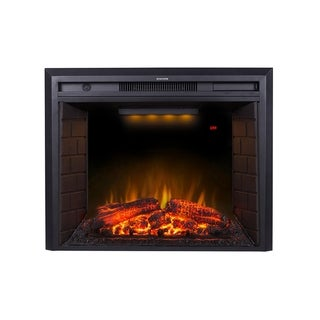 30 Inch Black Recessed Electric Fireplace Insert with Remote