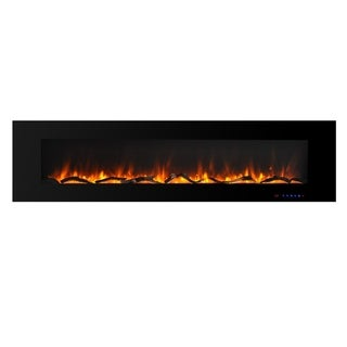 72 Inch Wall-mounted Electric Fireplace with Remote in Black