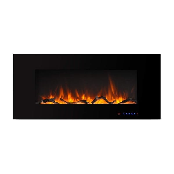 42 Inch Wall-mounted Electric Fireplace with Remote in Black