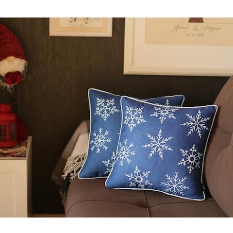"Snowflakes Throw Pillow Cover 18""x18"" Christmas Gift (Set of 2)"