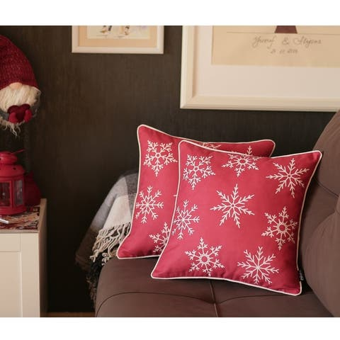 "Snowflakes Throw Pillow Cover 18""x18"" (2 pcs in set) Christmas Gift"