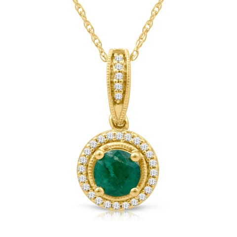 1/10ct TDW Diamond Gemstone Halo Necklace in 10k Yellow Gold