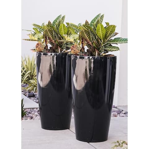 XBrand Self Watering Round Planter, Set of 2, 29.5 Inch Tall, Black