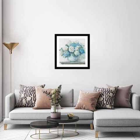 "iCanvas ""Blue Hydrangea Cottage Crop"" by Carol Rowan Framed Fine Art Paper Print"