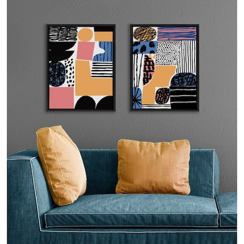 Kate and Laurel Sylvie Abstract Collage Canvas by Marcello Velho - Black