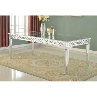 Best Master Furniture Silver Mirrored 84 Inch Dining Table