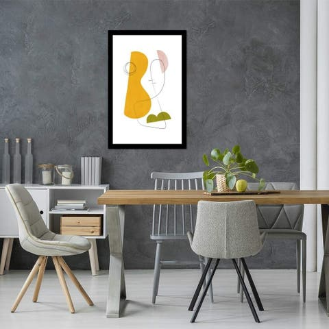 """iCanvas """"Abstract Composition with Lines IV"""" by Nouveau Prints Framed Fine Art Paper Print"""