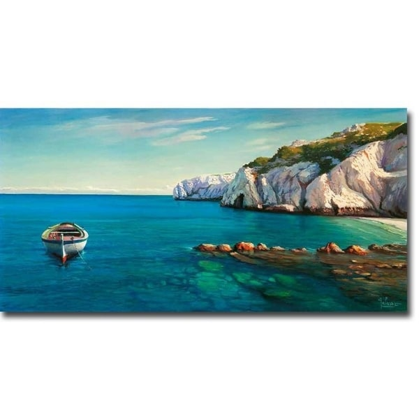 Mediterranean Cove by Adriano Galasso Gallery Wrapped Canvas Giclee Art (18 in x 36 in)