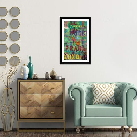 """iCanvas """"A to Z of Shoes"""" by Jana Nicole Framed Fine Art Paper Print - 24x16x1"""