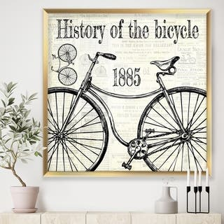 Designart 'History Of The Bicycle-C' Traditional Premium Framed Art Print