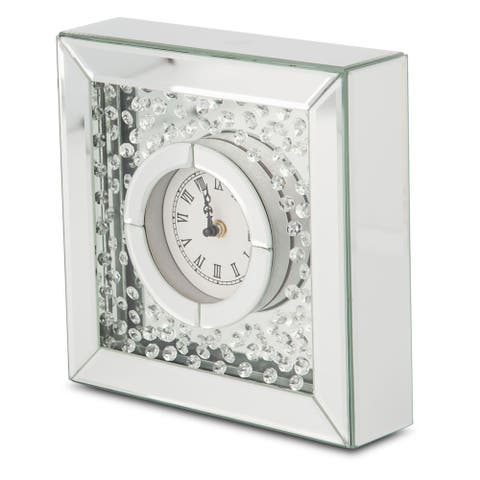 Montreal Silver with Crystal Accents Table Clock