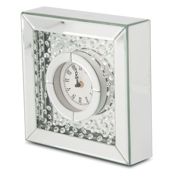 Montreal Silver with Crystal Accents Table Clock. Opens flyout.