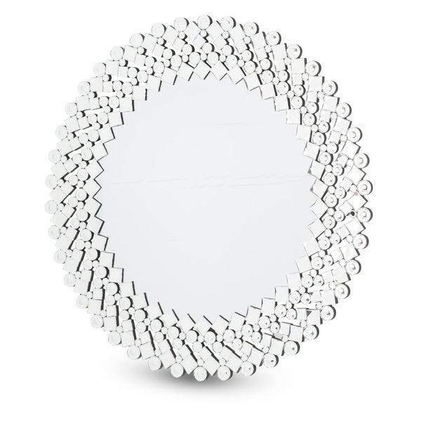 Montreal Round Facet Silver Wall Mirror
