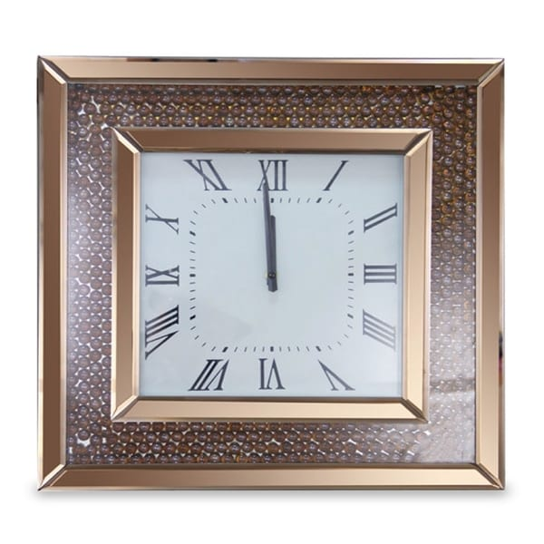 Montreal Square Clock with Rose Gold Trim