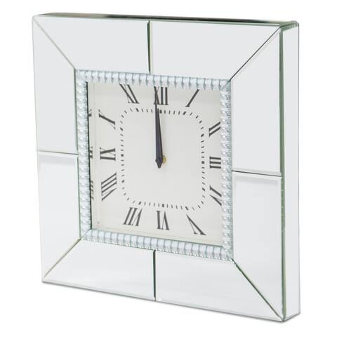 Montreal Mirrored Crystal Detail Square Clock