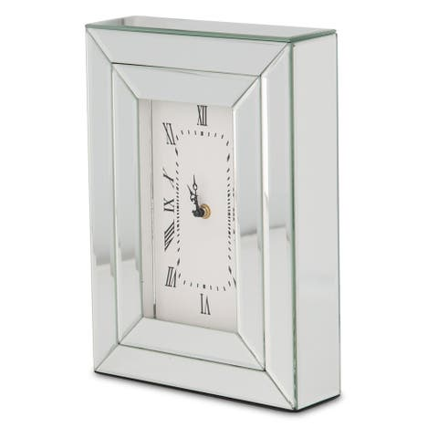 Montreal Silver Mirrored Rectangular Table Clock