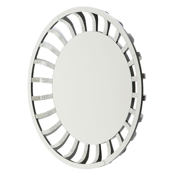 Montreal Round Wall Mirror with Crystal and Glass Sunburst