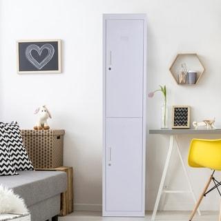2 Tier Freestanding Steel Lockable Wall Locker Storage Cabinet