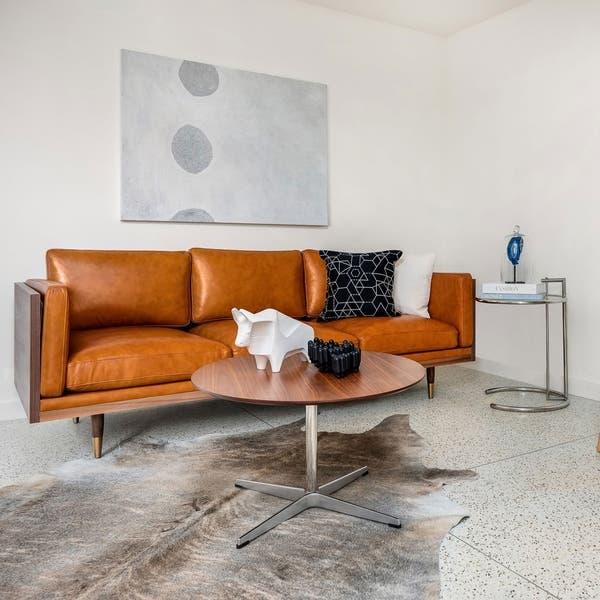 Shop Kardiel Woodrow Lush Midcentury Modern 87 Sofa Semi Aniline