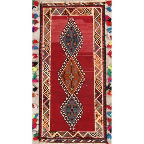 "Vintage Kilim Geometric Hand Woven Wool Persian Rug - 8'10"" x 4'1"" Runner"