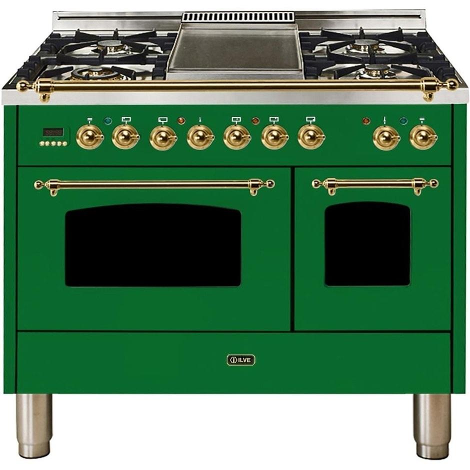 "Ilve  UPDN100FDMPVSNG 40"" Nostalgie Series Dual Fuel Natural Gas Range, 3.55 cu. ft. Total Capacity, Brass Trim, in Emerald Green"