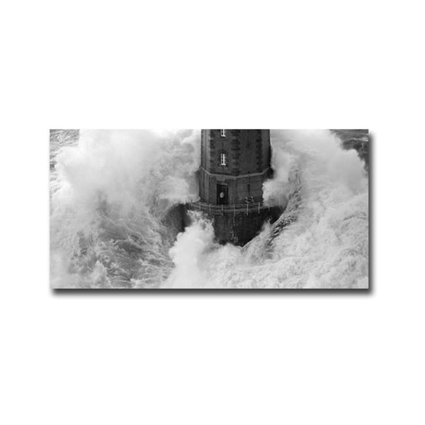La Jument Lighthouse (Black & White) by Jean Guichard Gallery Wrapped Canvas Giclee Art (18 in x 36 in)