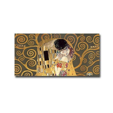 The Kiss (Detail-Grey Variation) by Gustav Klimt Gallery Wrapped Canvas Giclee Art (18 in x 36 in)