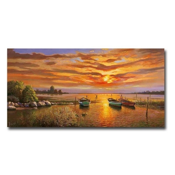 Lagoon at Sunset by Adriano Galasso Gallery Wrapped Canvas Giclee Art (18 in x 36 in)