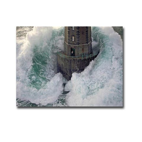 La Jument (The Mare) Lighthouse by Jean Guichard Gallery Wrapped Canvas Giclee Art (24 in x 32 in)