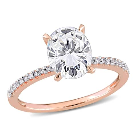 Miadora 2ct DEW Oval-cut Moissanite Solitaire and 1/10ct TDW Diamond Engagement Ring in 14k Rose Gold