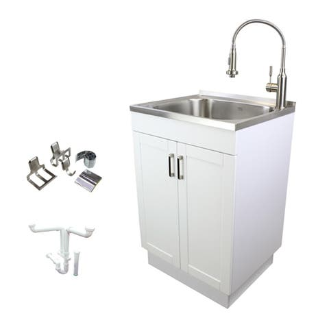 Transolid 24-in White Laundry Cabinet with Stainless Steel Sink, Stainless Steel High Arc Faucet, Accessories, and Drain Kit