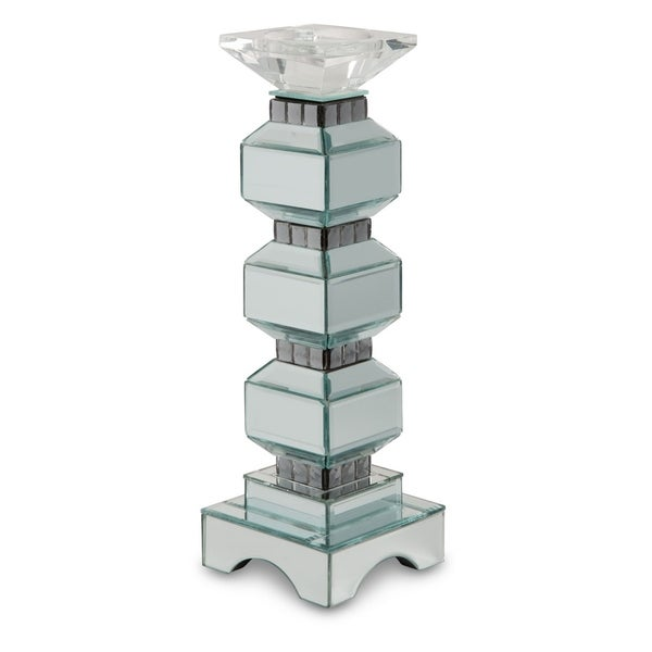 Montreal Mirrored 3 Tier Candle Holder with Crystals (Set of 2)