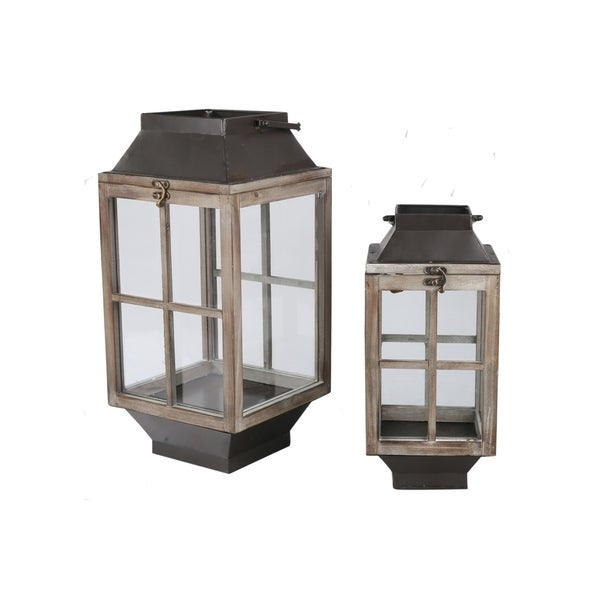 UTC23808: Wood Square Lantern with Tapered Bottom Set of Two Weathered Finish Tan