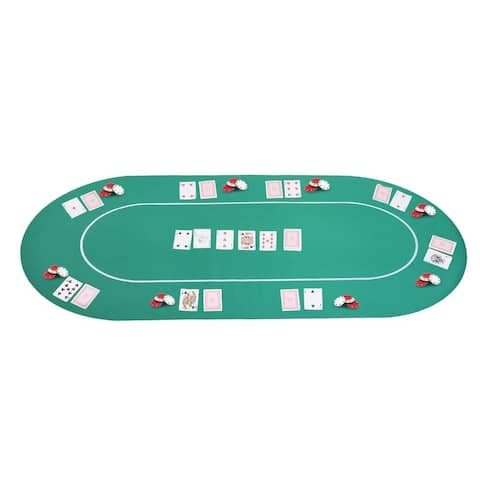 """Soozier 71"""" x 36"""" 8 Player Rubber Oval Poker Table Top - Green/White"""