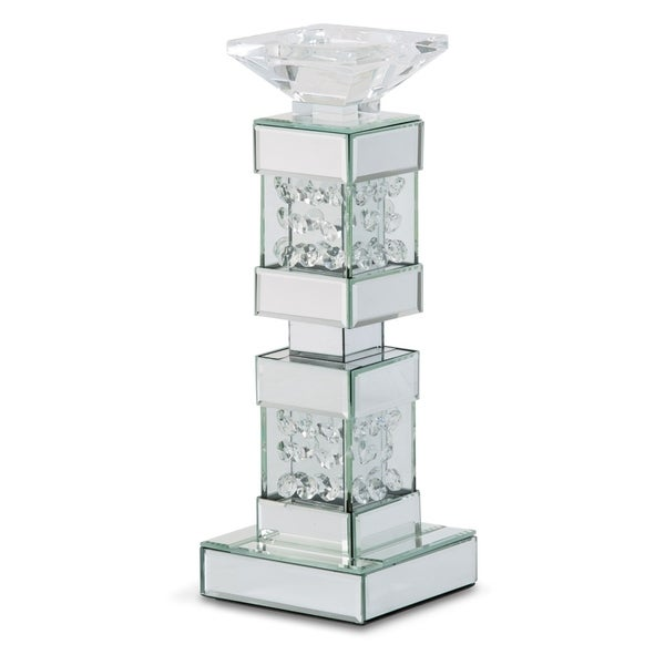 Montreal Mirrored Short Candle Holder with Crystal Accents (Set of 2)