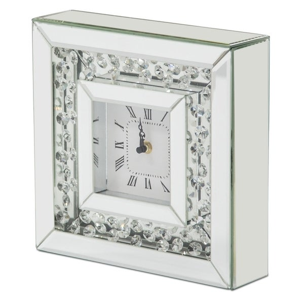 Montreal Silver Mirrored with Crystal Accents Table Clock (Set of 2)