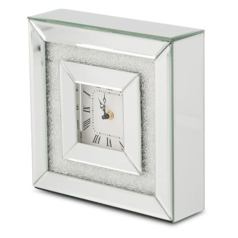 Montreal Silver Mirrored Beady Square Table Clock