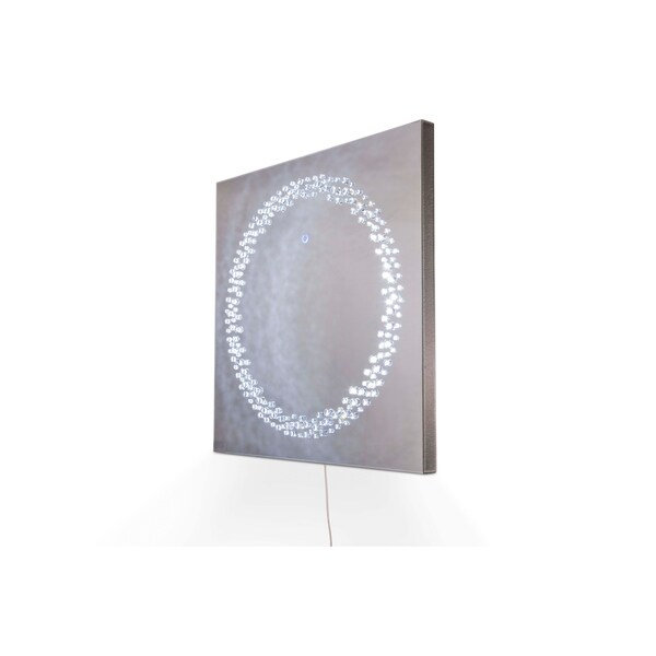 Montreal Square Silver Wall Mirror with LED Lighting
