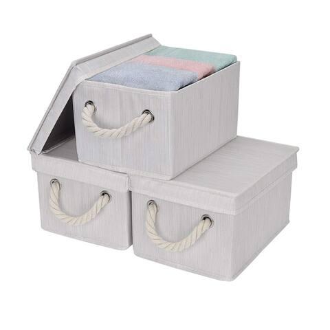 StorageWorks: Foldable Fabric Storage Bin w/Cotton Rope Handles & Lid, Ivory , 3-Pack
