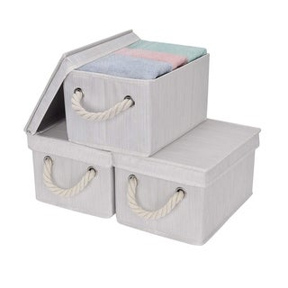 StorageWorks: Foldable Fabric Storage Bin w/Cotton Rope Handles & Lid, Ivory , 3-Pack