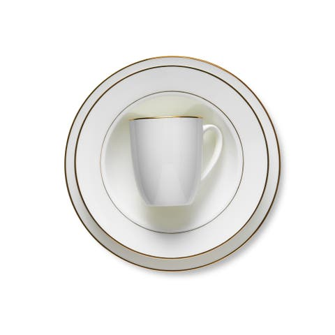 Stone Lain 32 Pieces Bone China Round Set with Golden Line