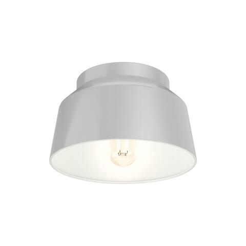 Hunter Cranbrook Collection Dove Grey 1-Light Cylinder Flush Mount