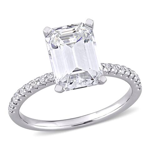 Moissanite by Miadora 10k White Gold 3 1/5 CT TGW Emerald-Cut Moissanite Engagement Ring