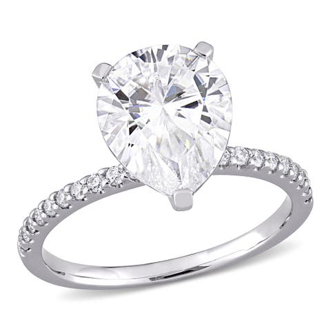 Moissanite by Miadora 10k White Gold 4 1/5 CT TGW Pear-Cut Moissanite Engagement Ring