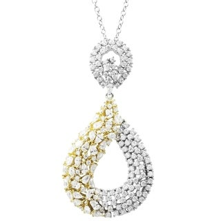Link to Luxiro Sterling Silver Two-tone Finish CZ's Open Teardrop Pendant Necklace Similar Items in Necklaces