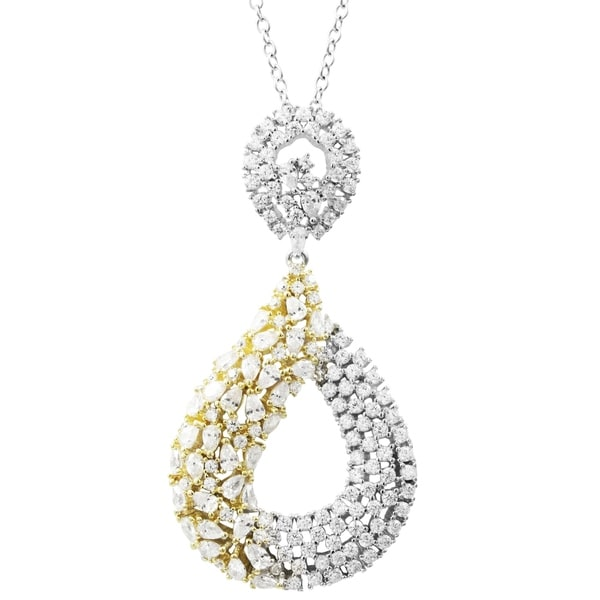 Luxiro Sterling Silver Two-tone Finish CZ's Open Teardrop Pendant Necklace. Opens flyout.